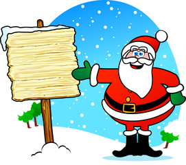Santa Claus with wooden sign