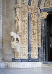 Trogir - croatia - detail of cathedral portal