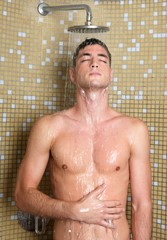 young handsome sexy nude man in shower