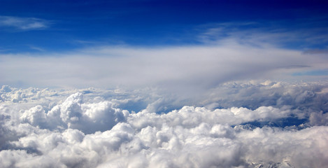 Aerial view of the beautiful blue sky with white clouds