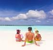 Children on idyllic beach