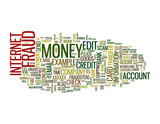 Internet Fraud word cloud on white background poster