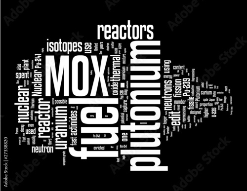 Mox Fuel word cloud on black