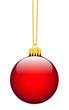 Rote Weihnachtsbaumkugel mit goldenem Anhänger