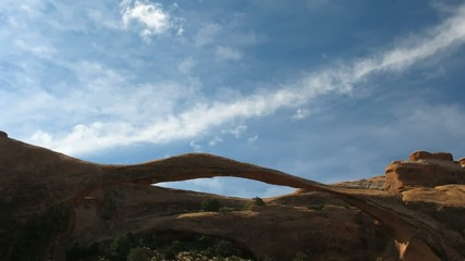 Time lapse clouds over Landscape Arch, Arches National Park