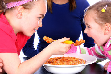 Children Eating Baked Beans. Models Released