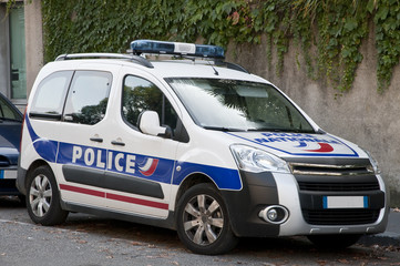 Modern french police car in the street