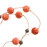simple necklace - sponge coral and lacy metal beads poster