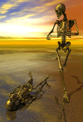 Surreal skeleton jogging past prone skeleton with sunset