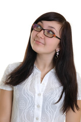 girl in glasses looking up
