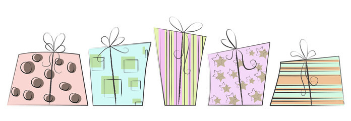 Sketchy Christmas Gift Boxes