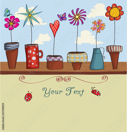 Whimsical Flower Pots Background