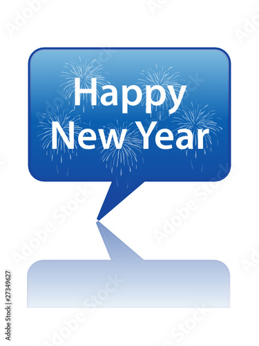 """HAPPY NEW YEAR"" Speech Bubble Icon (card message greetings fun)"