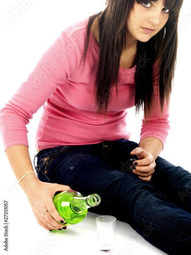 Young Woman Drinking Alcohol. Model Released