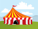 Color circus tent poster