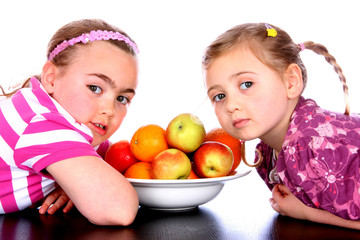 Children with Bowl of Fruit.Models Released