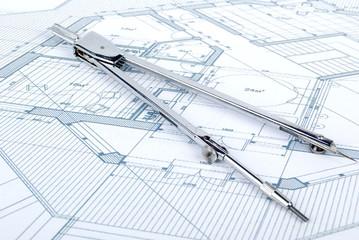 Compass and blueprint
