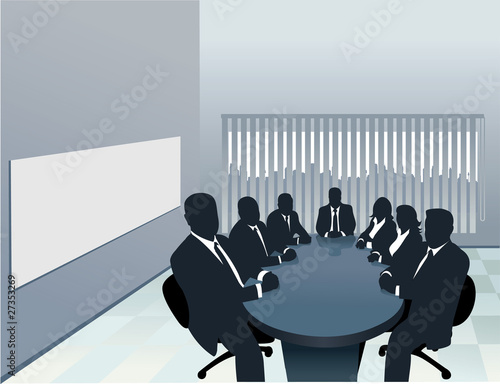 Silhouette of a board room