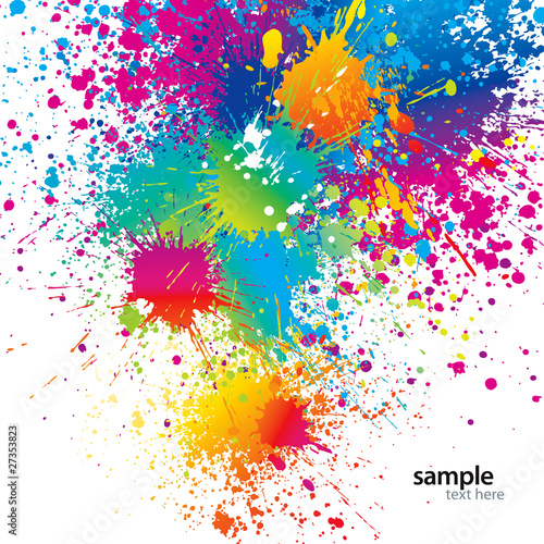 Background with colorful spots and sprays on a white. Vector ill - 27353823