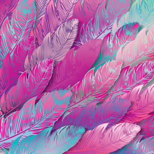 Seamless background of iridescent pink feathers, close up