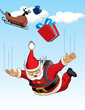 Santa Claus Parachuting
