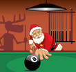 Santa Claus playing pool
