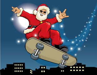 Santa Claus skateboarding