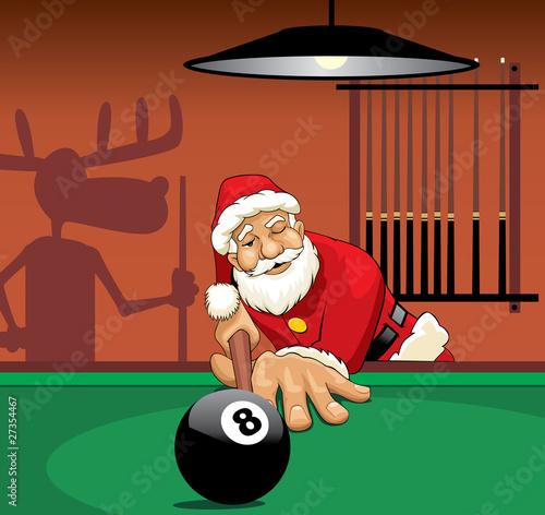 Santa Claus playing pool