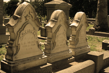 Row of Three Headstones