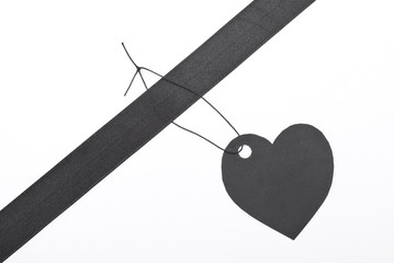 """Black gift tag """"Heart"""""""