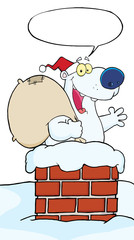 Polar Bear Waving A Greeting In Chimney With Speech Bubble