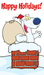 Happy Holidays Greeting With Polar Santa Bear In Chimney