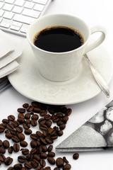 Espresso coffee in vintage cup