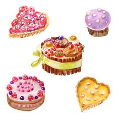 watercolor of sweet desserts