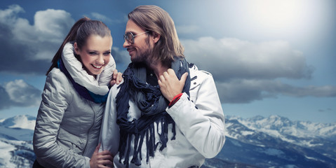 Smiling couple in the mountain