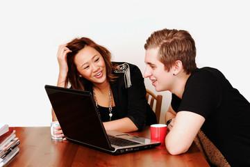 College students having fun on internet