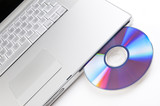 Laptop closeup with cd