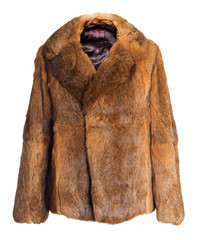 Female coat made of rabbit fur | Isolated