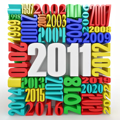 New year 2011. Cube consisting of the numbers