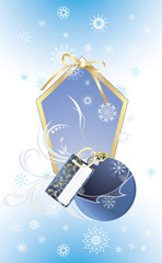 Christmas blue ball on the decorative background with snowflakes