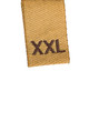 XXL size clothing label tag, isolated macro closeup