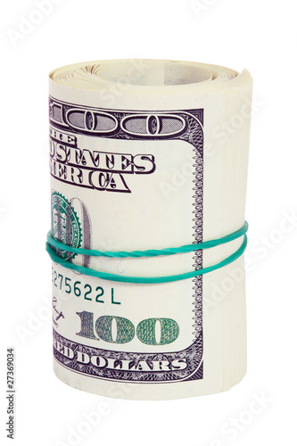 Roll of hundred US dollars isolated on white