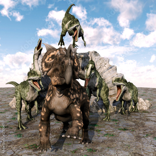 Leinwanddruck Bild einiosaurus great scape from monolophosaurus gang
