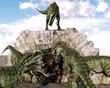 Постер, плакат: monolophosaurus gang attacking einiosaurus