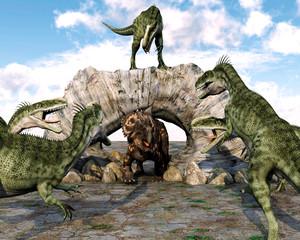 monolophosaurus gang ready to attack einiosaurus
