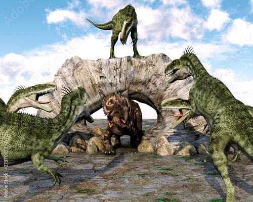 gang-monolofozaura-gotowy-do-ataku-na-einiosaurusa