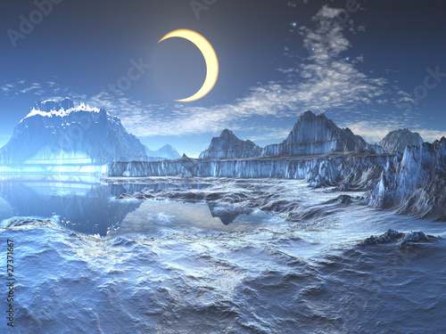 Frozen Planet on Lunar Eclipse Over Frozen Planet    Angela Harburn  27371667   See