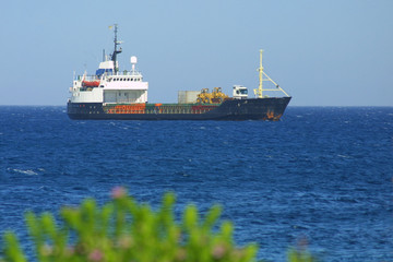 Industrial ship in Mediterranean sea