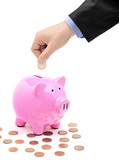 Hand inserting a coin into a pink piggy bank poster