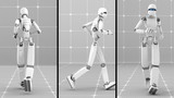 White futuristic robot jogging indoor- Back-Side-Front view